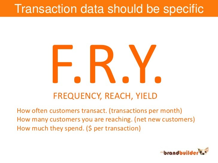 Transaction data should be specific<br />F.R.Y.<br />FREQUENCY, REACH, YIELD<br />How often customers transact. (transacti...
