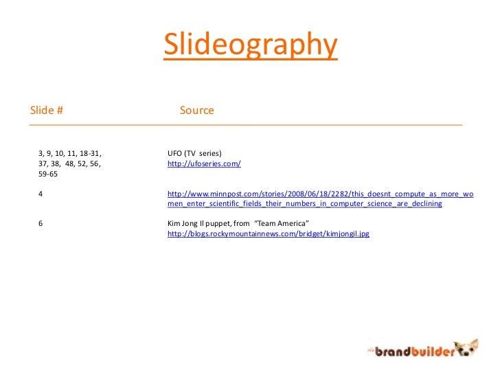 Slideography<br />Slide #Source<br />3, 9, 10, 11, 18-31, <br />37, 38,  48, 52, 56,<br />59-65<br />4<br />6<br />UFO ...