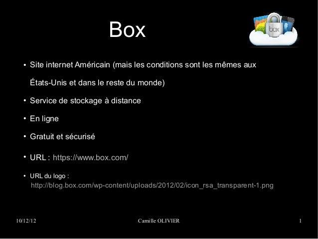 Box  ●   Site internet Américain (mais les conditions sont les mêmes aux      États-Unis et dans le reste du monde)  ●   S...