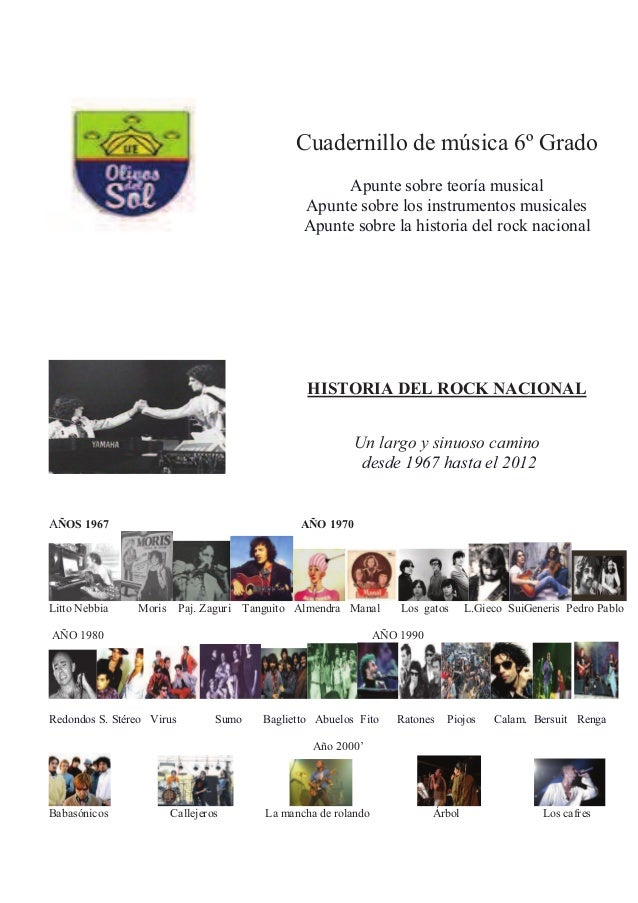 Cuadernillo de música 6º Grado Apunte sobre teoría musical Apunte sobre los instrumentos musicales Apunte sobre la histori...