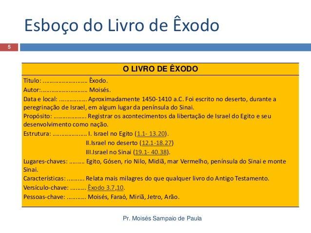 5682a68e6 Pr. Moisés Sampaio de Paula  5. Esboço do Livro de Êxodo 5 O LIVRO ...