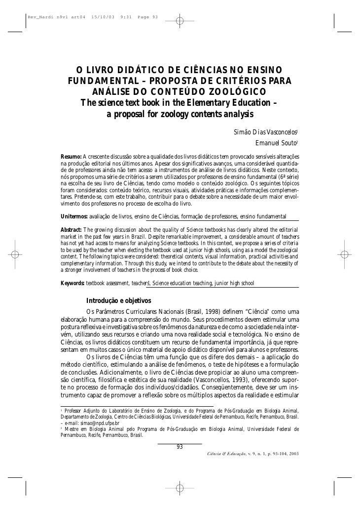 O LIVRO DIDÁTICO DE CIÊNCIAS NO ENSINO     FUNDAMENTAL – PROPOSTA DE CRITÉRIOS PARA         ANÁLISE DO CONTEÚDO ZOOLÓGICO ...