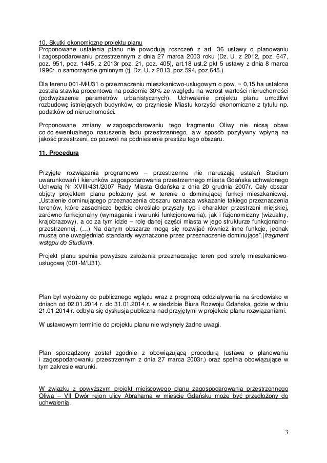 Oliwa – VII Dwór rejon ulicy abrahama druk 1190 uzasadnienie Slide 3