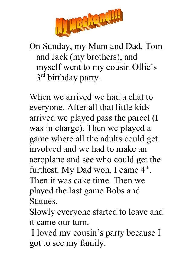 On Sunday, my Mum and Dad, Tom and Jack (my brothers), and myself went to my cousin Ollie's 3rd birthday party.When we arr...