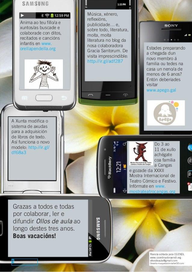 2 Revista editada pola CGENDL www.coordinadoraendl.org ollosdeaula@gmail.com Deseño-maquetación:tallerDD.com Do 3 ao 11 de...