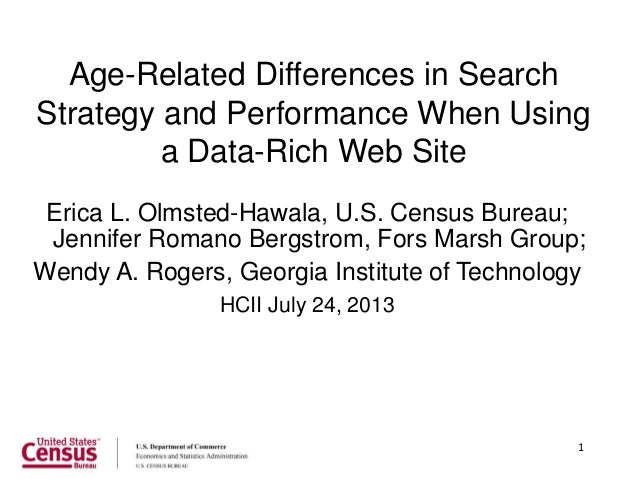 1 Age-Related Differences in Search Strategy and Performance When Using a Data-Rich Web Site Erica L. Olmsted-Hawala, U.S....