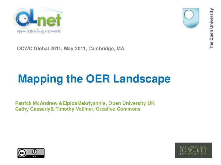 OCWC Global 2011, May 2011, Cambridge, MA<br />Mapping the OER Landscape<br />Patrick McAndrew & ElpidaMakriyannis, Open U...