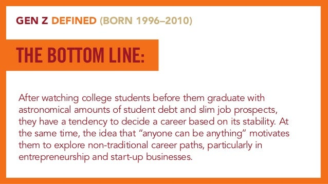 GEN Z DEFINED (BORN 1996–2010) After watching college students before them graduate with astronomical amounts of student d...