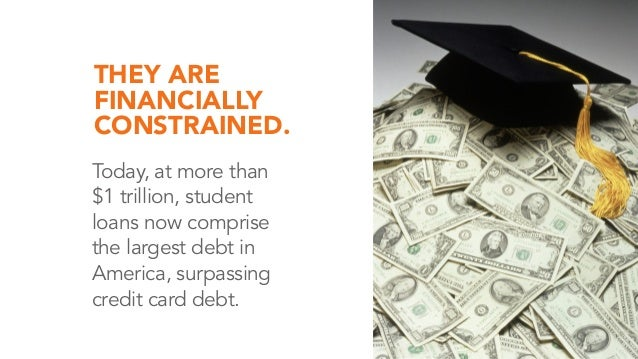 THEY ARE FINANCIALLY CONSTRAINED. Today, at more than $1 trillion, student loans now comprise the largest debt in America,...