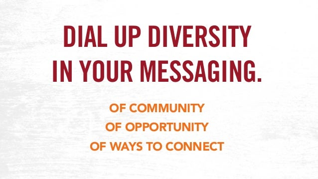 DIAL UP DIVERSITY IN YOUR MESSAGING. OF COMMUNITY OF OPPORTUNITY OF WAYS TO CONNECT