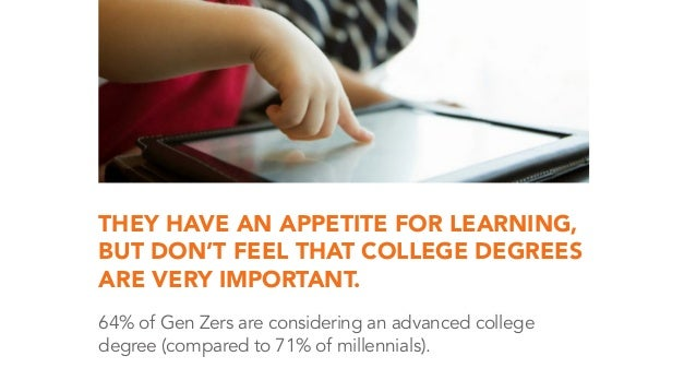 THEY HAVE AN APPETITE FOR LEARNING, BUT DON'T FEEL THAT COLLEGE DEGREES ARE VERY IMPORTANT. 64% of Gen Zers are considerin...