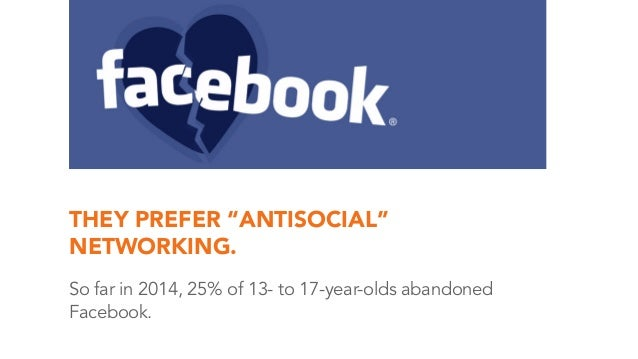 """THEY PREFER """"ANTISOCIAL"""" NETWORKING. So far in 2014, 25% of 13- to 17-year-olds abandoned Facebook."""
