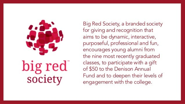 2013: A NEW CHAPTER BEGINS AT DENISON • 375 donors out of 702 young alumni qualified for Big Red Society • Average gift si...