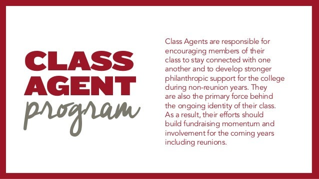 OBJECTIVES CLASS AGENT PROGRAM CONTACT: Reach out to approximately 10-20 classmates in a given fiscal year ASK:Solicit...