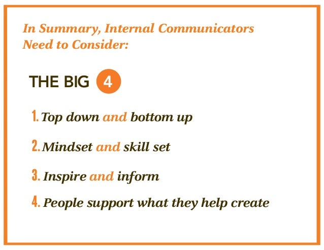 In Summary, Internal Communicators  Need to Consider:  THE BIG 4  1. Top down and bottom up  2. Mindset and skill set  3. ...