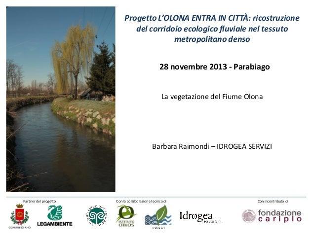 Progetto L'OLONA ENTRA IN CITTÀ: ricostruzione del corridoio ecologico fluviale nel tessuto metropolitano denso 28 novembr...