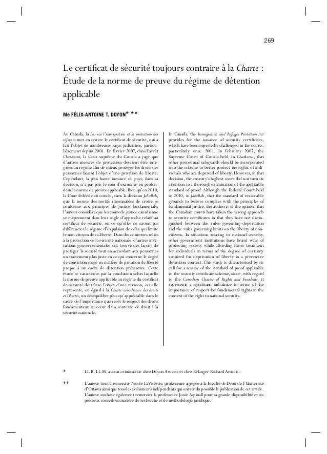 269  Le certificat de sécurité toujours contraire à la Charte : Étude de la norme de preuve du régime de détention applicab...