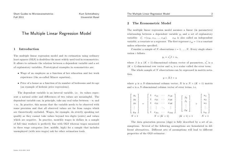 Short Guides to Microeconometrics                         Kurt Schmidheiny     The Multiple Linear Regression Model       ...
