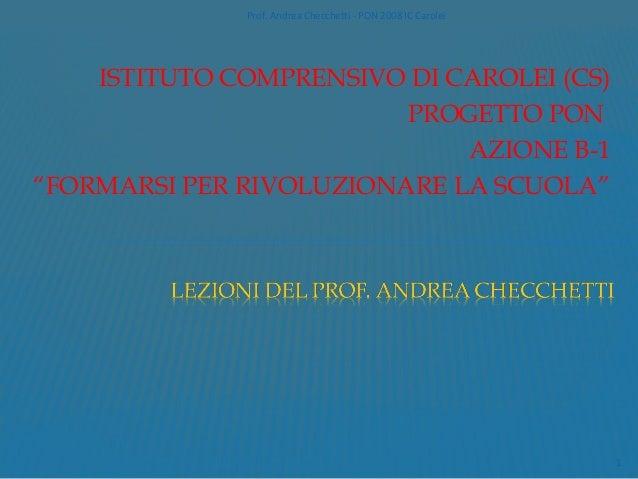 Prof. Andrea Checchetti - PON 2008 IC Carolei    ISTITUTO COMPRENSIVO DI CAROLEI (CS)                         PROGETTO PON...