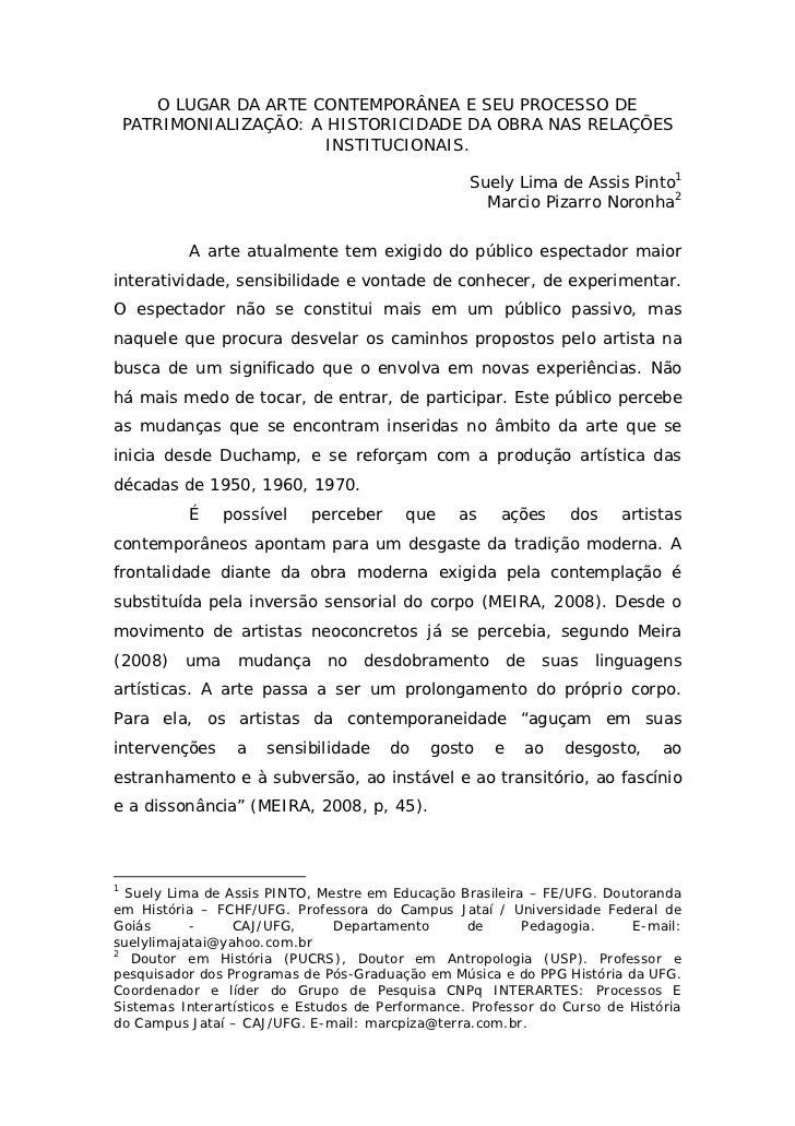 O LUGAR DA ARTE CONTEMPORÂNEA E SEU PROCESSO DE    PATRIMONIALIZAÇÃO: A HISTORICIDADE DA OBRA NAS RELAÇÕES                ...
