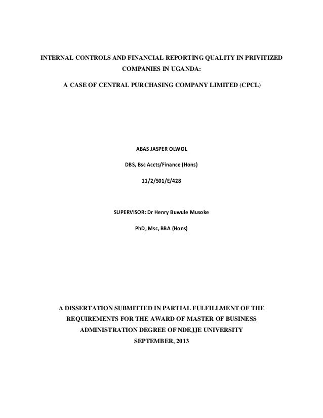 Thesis internal control systems