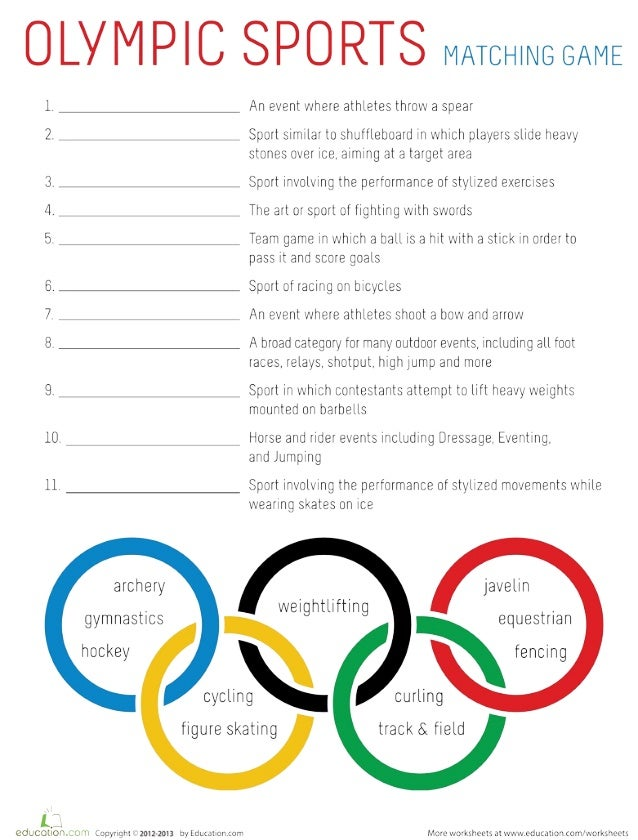 olympic sports worksheet 2 1 site 2. Black Bedroom Furniture Sets. Home Design Ideas