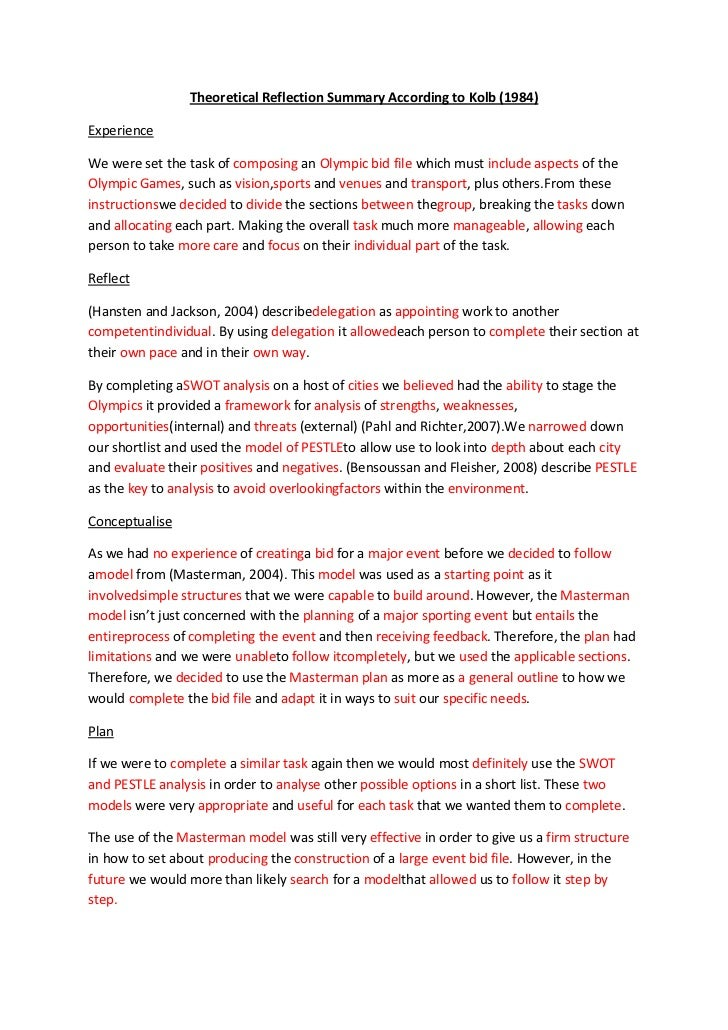 Theoretical Reflection Summary According to Kolb (1984)ExperienceWe were set the task of composing an Olympic bid file whi...
