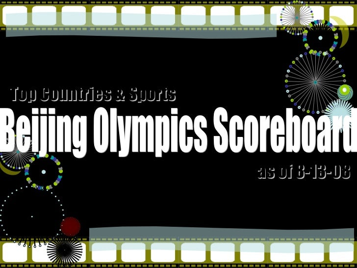 Beijing Olympics Scoreboard Top Countries & Sports as of 8-13-08