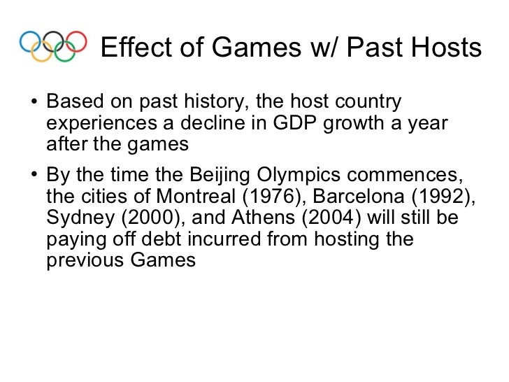 The impact of the olympic games on its host city essay