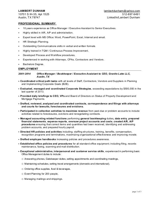 Office Manager - Executive Assistant Resume For Lambert Dunham 6-12-2…