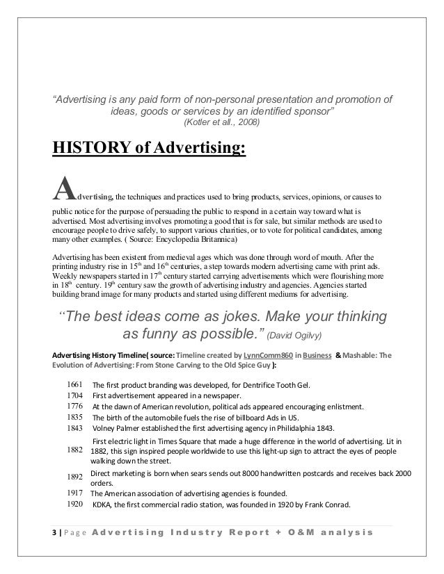 Advertising Industry Analysis + Ogilvy And Mather Report