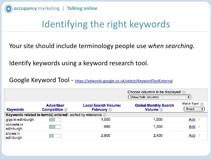 occupancy marketing  |  Talking online<br />How search engines work<br />Search engines identify keywords on page & in lin...