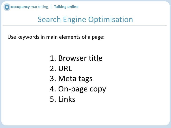 occupancy marketing  |  Talking online<br />Identifying the right keywords<br />Your site should include terminology peopl...