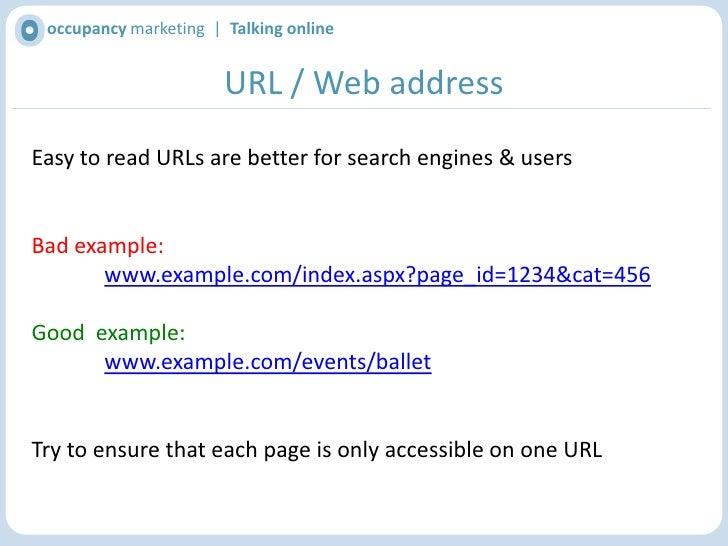 occupancy marketing  |  Talking online<br />Browser Title<br />Ensure main keywords for the page are in the browser title<...