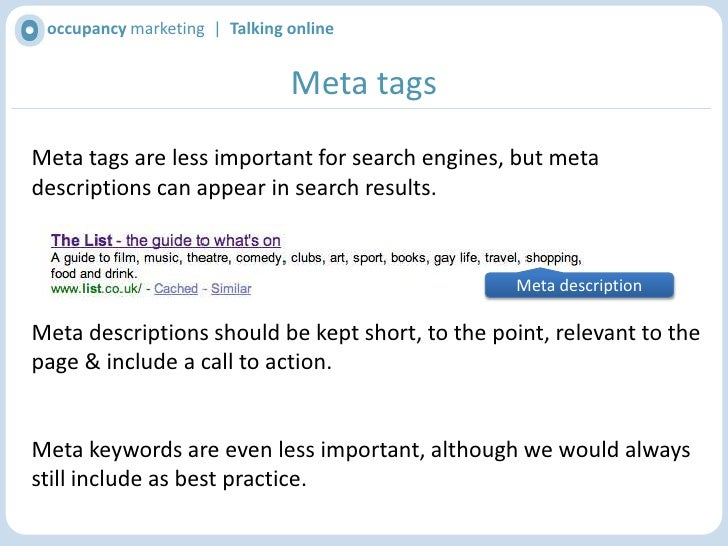 occupancy marketing  |  Talking online<br />URL / Web address<br />Easy to read URLs are better for search engines & users...