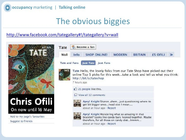 occupancy marketing  |  Talking online<br />The obvious biggies<br />