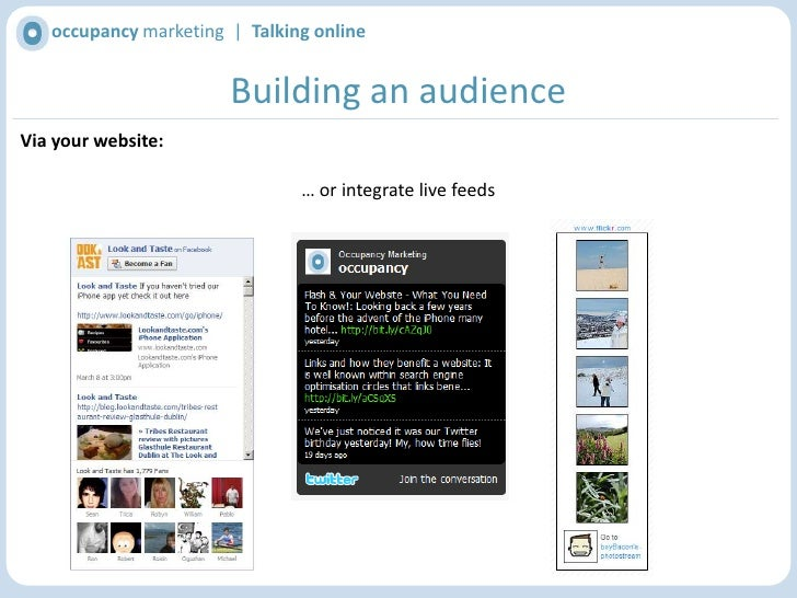 occupancy marketing  |  Talking online<br />Building an audience<br />Via your website:<br />Include links to your social ...