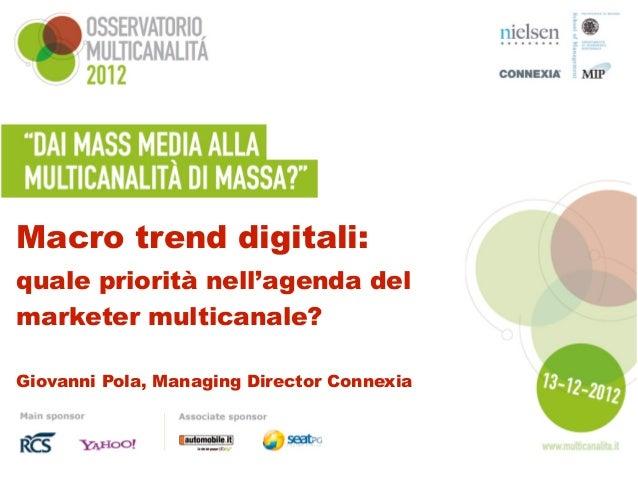 Macro trend digitali:quale priorità nell'agenda delmarketer multicanale?Giovanni Pola, Managing Director Connexia
