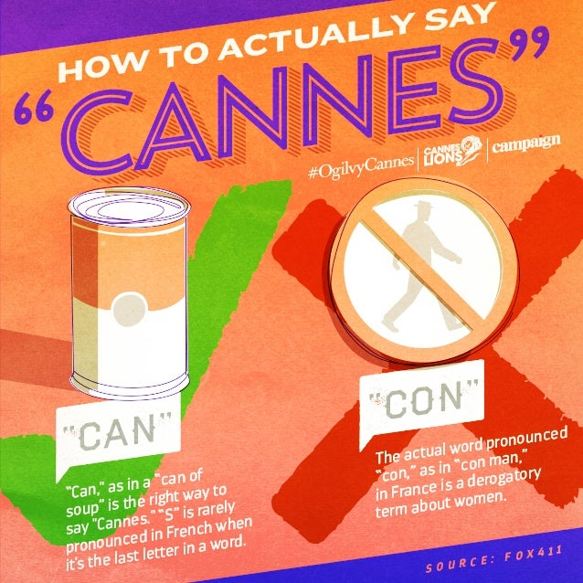 "Cannes ""Cannes"" S o u r c e : F O X 4 1 1 HOW TO ACTUALLY SAY ""can"" The actual word pronounced ""con,"" as in ""con man,"" in ..."