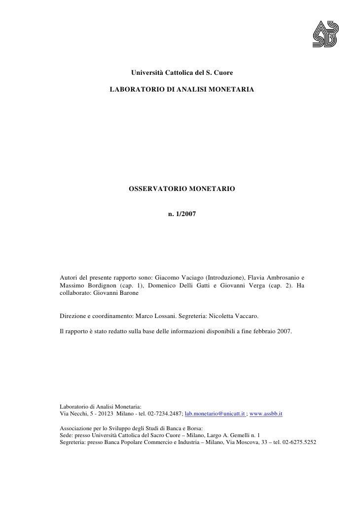Università Cattolica del S. Cuore                     LABORATORIO DI ANALISI MONETARIA                                OSSE...