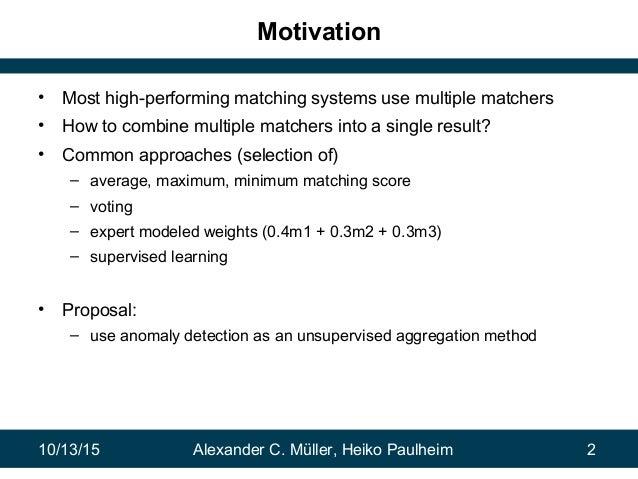 Combining Ontology Matchers via Anomaly Detection Slide 2