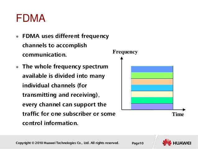 Copyright © 2010 Huawei Technologies Co., Ltd. All rights reserved. Page10 FDMA  FDMA uses different frequency channels t...