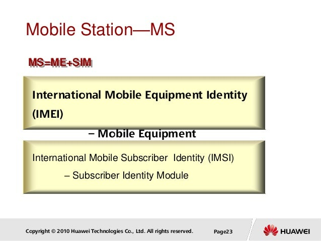 Copyright © 2010 Huawei Technologies Co., Ltd. All rights reserved. Page23 Mobile Station—MS International Mobile Equipmen...