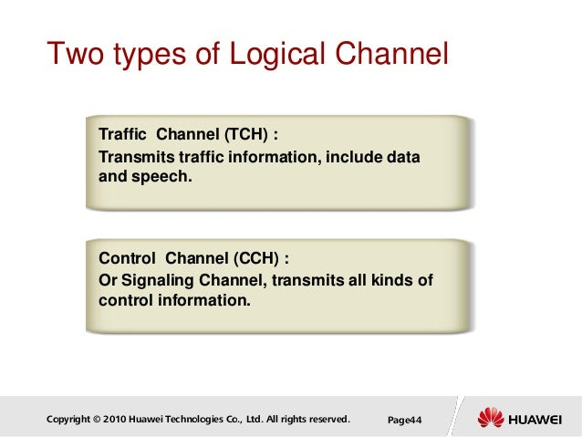 Copyright © 2010 Huawei Technologies Co., Ltd. All rights reserved. Page44 Two types of Logical Channel Traffic Channel (T...