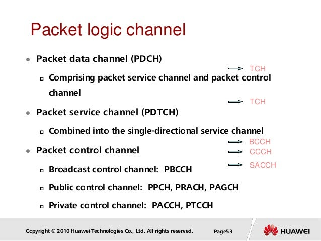 Copyright © 2010 Huawei Technologies Co., Ltd. All rights reserved. Page53 Packet logic channel  Packet data channel (PDC...