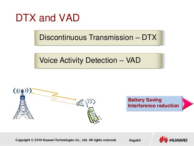 Copyright © 2010 Huawei Technologies Co., Ltd. All rights reserved. Page60 DTX and VAD Voice Activity Detection – VAD Disc...