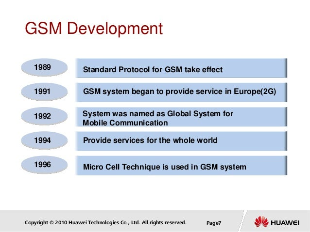 Copyright © 2010 Huawei Technologies Co., Ltd. All rights reserved. Page7 GSM Development Standard Protocol for GSM take e...