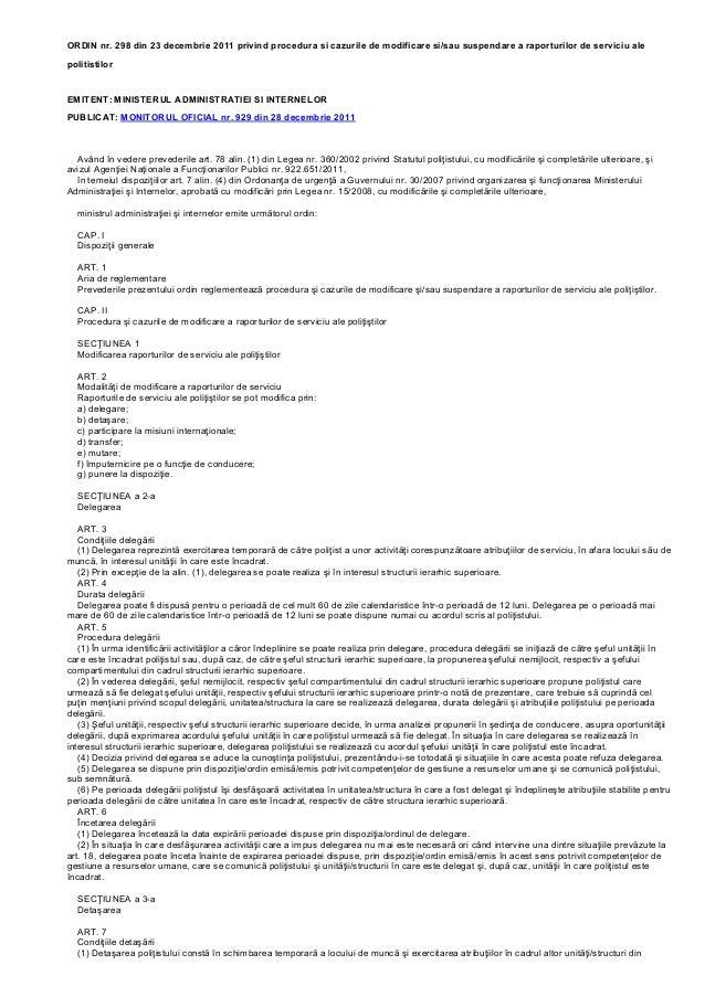 ORDIN nr. 298 din 23 decembrie 2011 privind procedura si cazurile de modificare si/sau suspendare a raporturilor de servic...