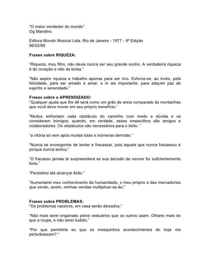 """""""O maior vendedor do mundo"""" Og Mandino  Editora Mundo Musical Ltda, Rio de Janeiro - 1977 - 9ª Edição 06/02/99  Frases sob..."""