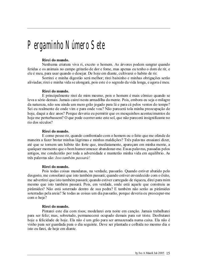Os Dez Pergaminhos Texto Extraído Do Livro O Maior Vendedor Do Mun